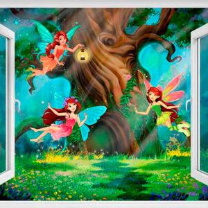 """Фотообои """"Окно в волшебный лес"""""""